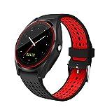 AIYIBEN V9 Bluetooth Smart Watch avec écran tactile carte SIM slot podomètre mains-libres soutien des appels multiples langues pour smartphone Android (Black+Red)