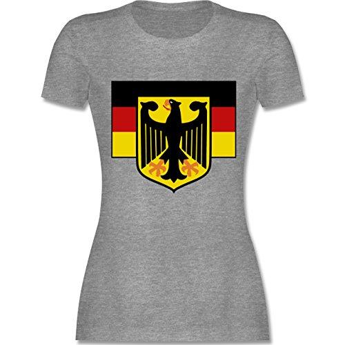 Länder - Deutschland Flagge mit Adler - tailliertes Premium T-Shirt mit Rundhalsausschnitt für Damen Grau Meliert