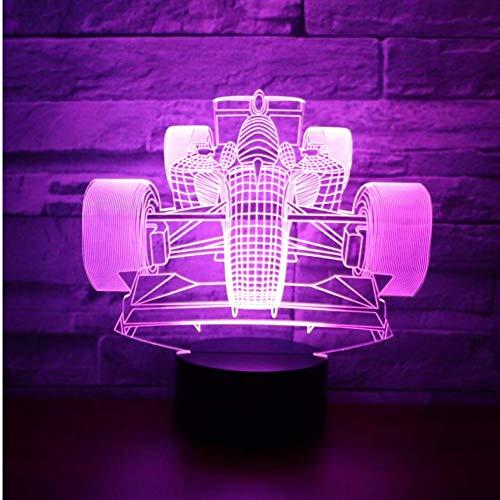 luanxiaonie Optische Täuschung-Nachtlicht-Rennwagen-Front mit 7 Farben beleuchten für Hauptdekorations-Lampe die erstaunliche Fantastische Sichtbarmachung Mit Einer bunten Rissbasis -