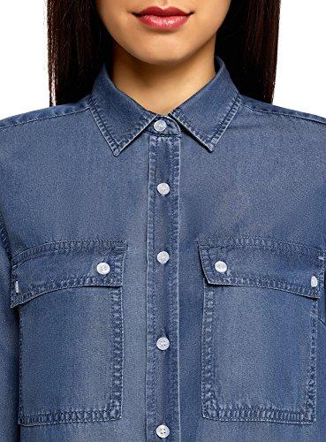 oodji Ultra Damen Denim-Hemdkleid mit Brusttaschen Blau (7500W)