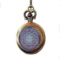 xinzhahi Purple Flower of Life Pocket Watch Necklace Sacred Geometry Jewelry Art Glass Cabochon
