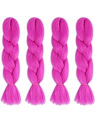 Brilliant Jumbo Kanekelon Tresse pour cheveux Tissages, Dreads et avant Garde Creative Styling, Rose, Violet,...