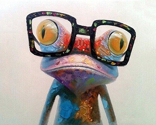 CaptainCrafts Neu Malen Nach Zahlen 16x20 für Erwachsene Anfänger Kinder, Kinder Leinwand - Ein Bunter Frosch mit Brille (mit Rahmen)