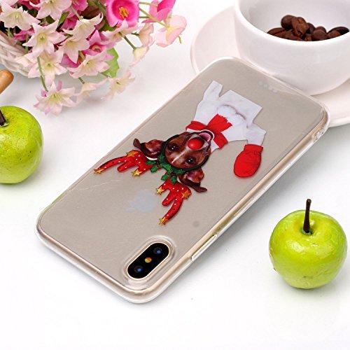 Cover iPhone X, Sportfun morbido protettiva TPU Custodia Case in silicone per iPhone X Natale (04) 01