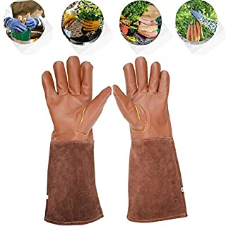 Qxkl Professional Rose Pruning Thornproof Gardening Gloves, Cut-Proof Stab-Resistant Welding Tool Gloves, Long Forearm Protection Garden Work Gloves,S