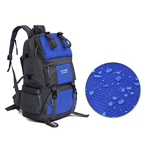 Wanderrucksack 50L Wasserdichtes Sporttasche Big Outdoor-Kapazität Taschen Bergsteigen Jagd Travel Rucksäcke 7