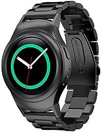 Sannysis - Samsung Galaxy Gear S2 RM-720 correas y conector de banda de Acero inoxidable, color negro