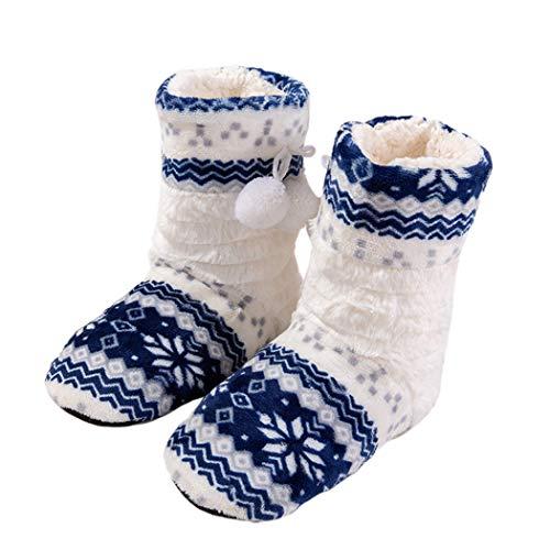 Winter Schuhe Home Warm Hausschuhe Frauen Mädchen Weihnachten Indoor Lange Socken Baumwolle Haus Booties Plüsch Wohnungen (Camo Schlitten)