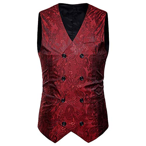 Kanpola Herren Westen Männer Herbst Winter Zweireiher ärmellos Weste Anzug Jacke Mantel Outwear Outdoor(Rot, 48)