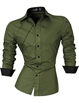 jeansian Herren Freizeit Hemden Shirt Tops Mode Langarmlig Men's Casual Dress Slim Fit 2028
