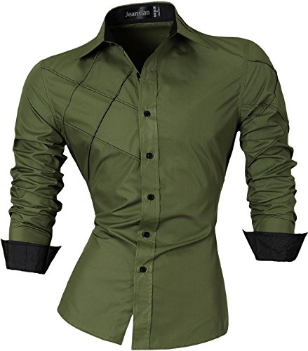 Jeansian uomo camicie maniche lunghe moda men shirts slim fit causal long sleves fashion 2028 armygreen m