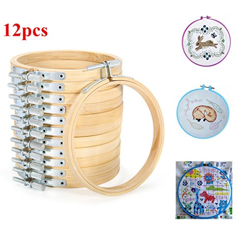 KING DO WAY 5pcs Stickrahmen, Kreuz Stitch Hoop Ring aus Bambus, 15.5/18.5/20.5/23/26cm (12pcs) (Holz-kreuz-muster)