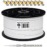 130 db 100 m Cable Coaxial SAT HQ-135 PRO 4 x escudada para DVB-S/S2 DVB-C y sistemas DVB-T BK plus 10 F-conector Dorado-Plateado incluye juego de