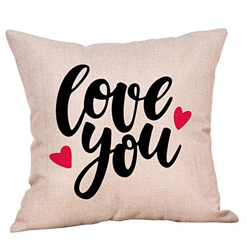 Cushion Covers Home Happy Valentine's Day Theme Drucken Rückenkissen Sweet Love Square Kissenbezug Home Sofa Dekoration (Color : D) (Happy Valentines D)