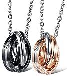 """Ostan - """"Love Eternity"""" 316L acero inoxidable collares con colgante de Pareja - nueva moda joyería collares y colgantess, negro y oro"""