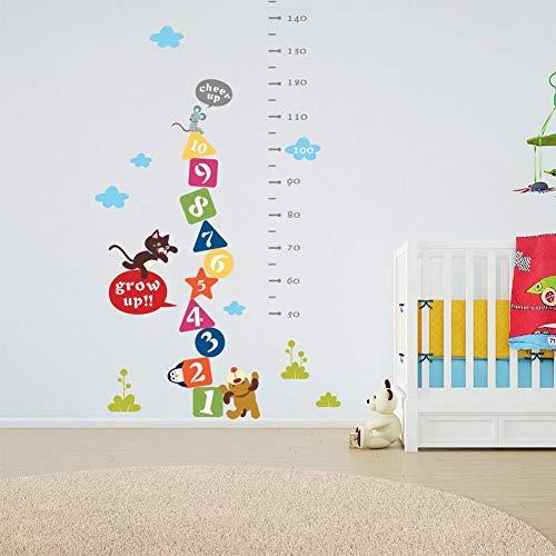 Höhenmessung Wandaufkleber,DIY-Cartoon Arabische Ziffern Wachsen Wasserdicht Abnehmbare Für Kinder Zimmer Wachstum Home Aufkleber Kunst Wandbild Poster -