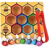 lzndeal Niños Preescolar de Madera Clip de Abeja Montessori Juguete Educativo Regalo de cumpleaños para niños
