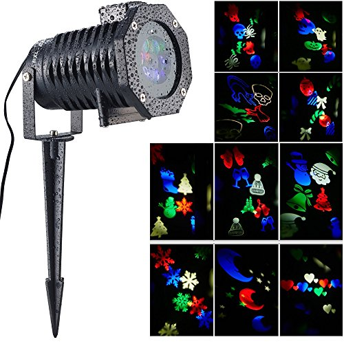 pxl-bar-led-projector-lights-with-10-interchange-slides-ip65-waterproof-snowflake-christmas-projecti