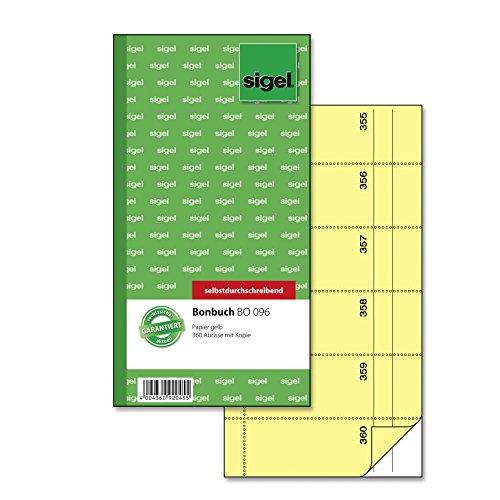 Sigel BO096 Bonbuch, 360 Abrisse gelb, 10,5 x 20 cm, 2x60 Blatt, selbstdurchschreibend