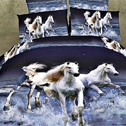Elenxs 4pcs / set Printed 3D Running Horse Housse de couette Sets Literie 200X230cm run