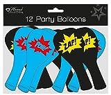 Pack of 12 Children's Party Balloons - Boy's Black & Blue Superhero Comic Slogans