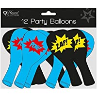 Pack of 12 Children's Party Balloons - Boy's Black & Blue Superhero Comic Slogans