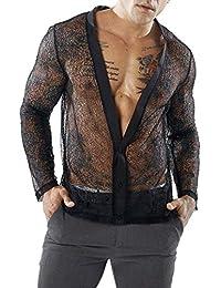 BUSIM-Men Long Sleeve Shirt Autumn Casual Mesh Nightclub Mesh Deep V Top Cardigan Semi-Transparent Personality...