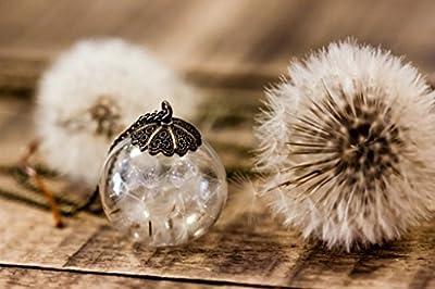 Pendentif en verre - Pétales de Dent de Lion, Pissenlit - Sphère de 25mm - Idee cadeau anniversaire - Cadeau de Fêtes des Mères - Un cadeau original pour femme