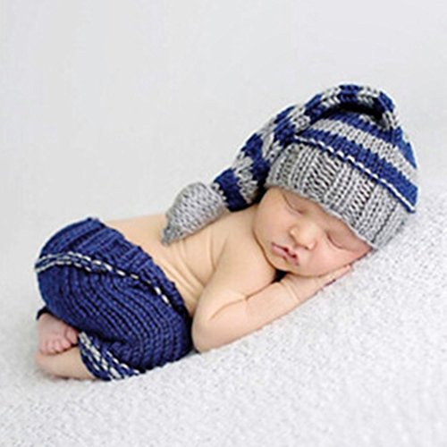 HAPPY ELEMENTS Neugeborenes Baby Jungen Handgemachtes Häkelarbeit Strickendes Kostüm Hut Säuglingsfotographie Stütze (0-12 Monate) (Lange (Alt Kostüme Monate 12)