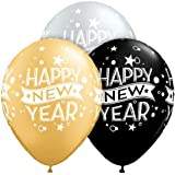 """Hk Balloons Hkballoons """"Happy New Year"""" Printed Balloons for Christmas ,New Year Celebrations- Pack of 30"""