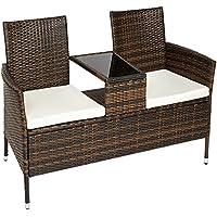 TecTake Divano da giardino divanetto tavolino da giardino in polyrattan nero marrone + cuscini