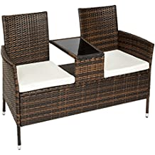 TecTake Sofá 2 asientos + mesa media de poliratán negro marrone incl. cojines