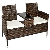 TecTake Sofá 2 asientos + mesa media de poliratán incl. cojines - disponible en diferentes colores - (Negro-Marrón | No. 401548)