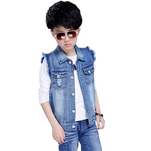 LSERVER Ärmellos Jeans Weste Kinder Jungen Winterjacke Jeansjacke Slim Outwear,116 (Ärmelloses Jeans Denim)