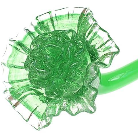 Giardino Verde Fiori stelo casa Ornament 12pollici lungo realizzata in vetro, supporto in vaso, Lie sul lato