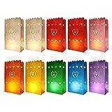 knora 10 Lichtertüten, Leuchttüten, Kerzentüten; schwer entflammbar; in Verschiedenen Farben; Motiv: Herz; aus Kraftpapier; für Teelichter und Andere Kerzen (27cm x 15m x 9 cm)