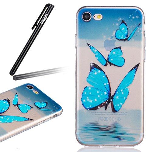 Custodia Cover iPhone 7/8 Bumper TPU Case, Ukayfe Trasparente Crystal Caso Cover Custodia Bumper Morbida TPU Silicone Gel Gomma Flessibile Sottile Fina Invisibile Ultra Thin Slim per iPhone 7/8 con St Blue Butterfly