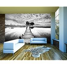 """Bilderdepot24 Autoadhesivo Fotomural """"Puentecillo retro - negro y blanco"""" 360x270 cm - papel pintado - Fototapete - la fabricación made in Germany!"""