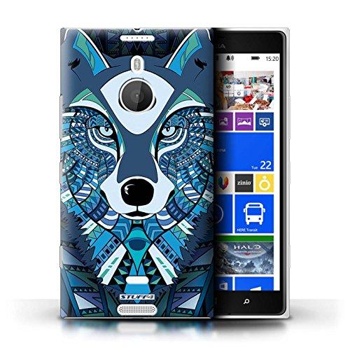 Coque en plastique pour Nokia Lumia 1520 Collection Motif Animaux Aztec - Loup-Mono Loup-Bleu