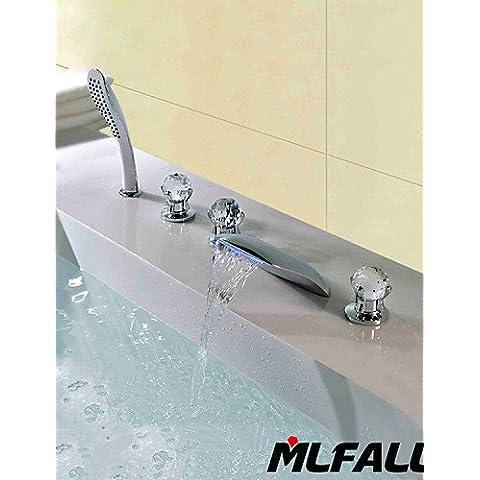 KISSRAIN® Mlfalls Nuevos Productos Cinco Agujeros Cristal Manijas Temperatured Led Cascada Cromo Acabado Baño Grifos