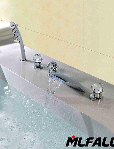 KISSRAIN® Mlfalls Nuovi Prodotti cinque fori di cristallo maniglie Temperatured Led Waterfall Chrome Finish Rubinetti da bagno