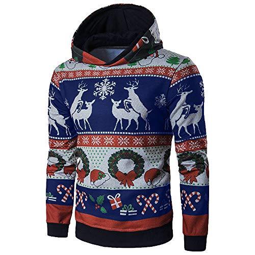 Fenverk Herren Langarm Hoodie Sweatshirt Slim Fit Sweatjacke Kapuzenpullover Baumwoll Pullover Outwear MäNner Winter Weihnachten Mit Kapuze Mantel Tops(Blau,4XL)