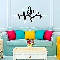 Decalcomanie da muro a forma di cuore con note musicali Music Studio di chiave di violino, basso, per bagno, camera da letto, in vinile, motivo
