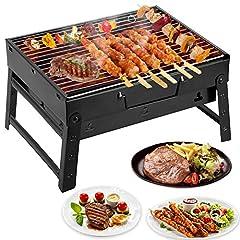 Idea Regalo - Mbuynow Grill Barbecue Carbone Griglia Barbecue per 3-5 Persone Cottura alla Brace Ottima Griglia Trasportabile per Cuocere Carne Pesce Verdure Pane Bruschettato ECC