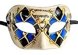 Herren Maskerade Maske Vintage venezianischen Checkered Musical Party Mardi Gras Maske (Blau / Schwarz Kariert)