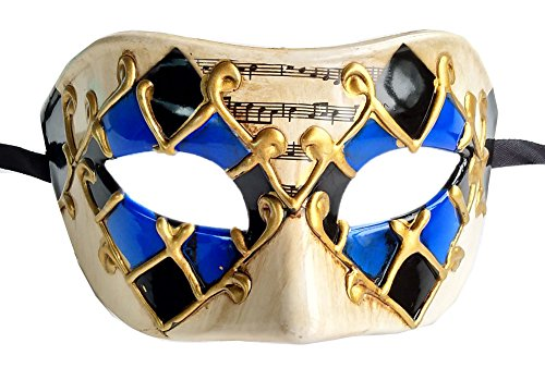 Coolwife Herren Maskerade Maske Vintage venezianischen Checkered Musical Party Mardi Gras Maske (Blau / Schwarz Kariert) (Mardi Männer Gras Masken)