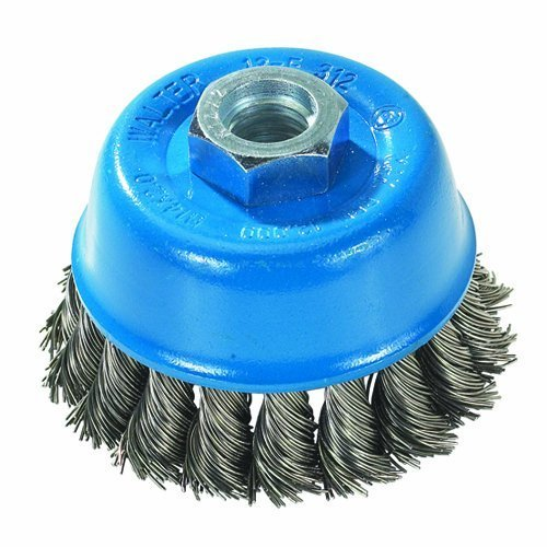 Walter 13F304 Knot Twisted Wire Cup Brush, Threaded Hole, Carbon Steel, 3