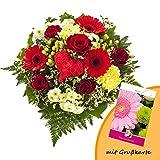 Dominik Blumen und Pflanzen, Blumenstrauß Herzensfreude und Grußkarte