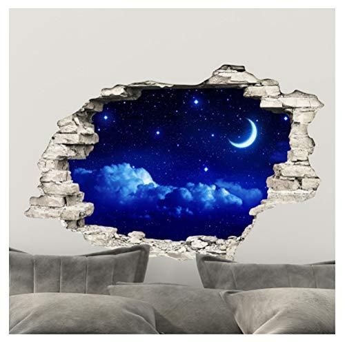 Ambiance Sticker Pegatinas Adhesivas Efecto 3D de Cielo y Luna - Decoración de Pared con Trampa de Ojos para habitación y salón, 60 x 90 cm