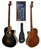 Akustik E- Bass Gitarre Schwarz Sapeli mit 4 Band EQ Pickup Bassgitarre mit Tasche und Kabel